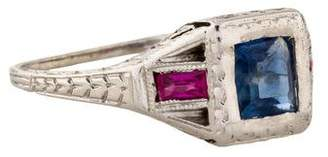 Ring 18K Sapphire & Synthetic Ruby