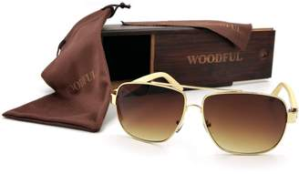 woodful Metal Frame Aviator Sunglasses with Wood bamboo Temple Glasses and Case