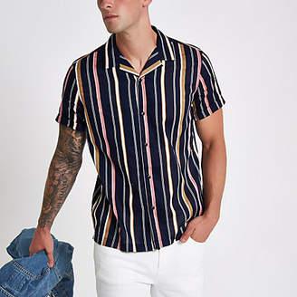 River Island Navy stripe revere short sleeve shirt