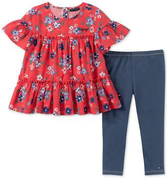 Tommy Hilfiger Toddler Girls 2-Pc. Floral-Print Tunic & Denim Leggings Set