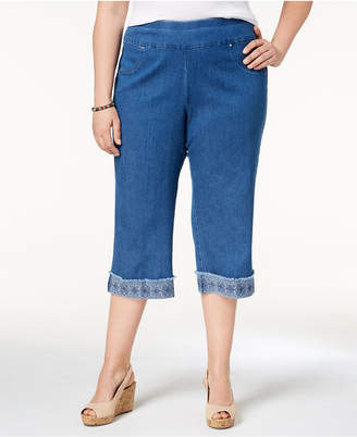 Alfred Dunner Plus Size Sun City Denim Embroidered-Cuff Capri Pants