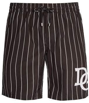 Dolce & Gabbana Varsity Stripe Logo Swim Shorts - Mens - Black