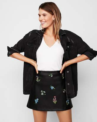 Express Mid Rise (Minus The) Leather Embroidered A-Line Mini Skirt