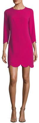 Shoshanna Baruch Scalloped-Hem Mini Shift Dress