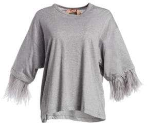 No.21 No. 21 Feather Trim Oversized Tee