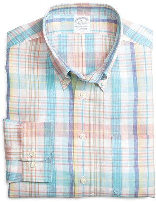 Brooks Brothers Slim Fit Aqua with Pink Plaid Linen Sport Shirt