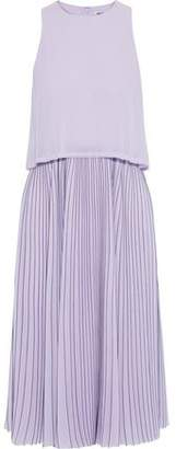 Jason Wu Layered Pleated Pinstriped Georgette Midi Dress