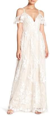 Minuet Cold Shoulder Floral Accent Mesh Dress