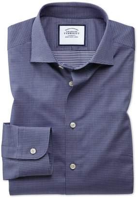Charles Tyrwhitt Slim Fit Semi-Spread Collar Business Casual Navy Multi Puppytooth Cotton Dress Shirt Single Cuff Size 15/34