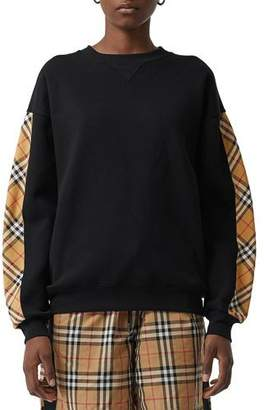 Burberry Bronx Crewneck Long-Sleeve Jersey Sweatshirt with Vintage Check Detail