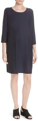 Eileen Fisher Scoop Neck Knee Length Shift Dress