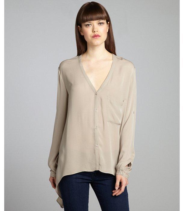 Chelsea Flower taupe silk drape side convertible long sleeve blouse