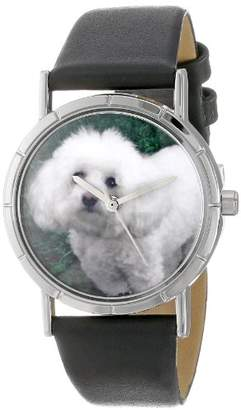 Whimsical Watches Kids' R0130010 Classic Bichon Black Leather And Silvertone Photo Watch