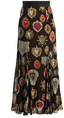 Dolce & Gabbana Heart-print fluted skirt