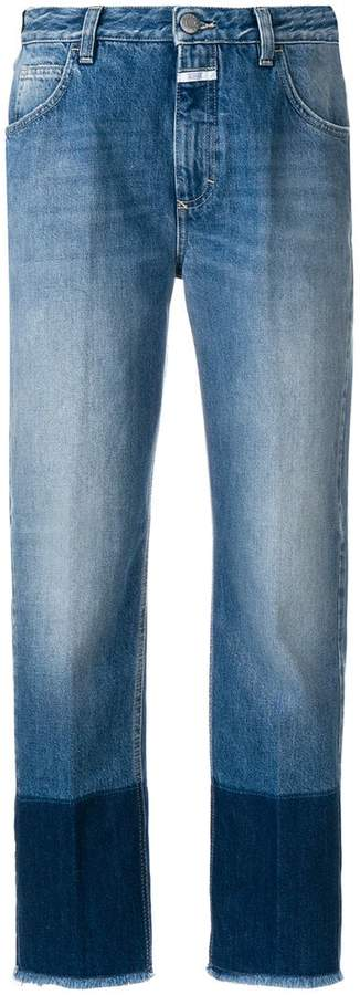 contrast cuff cropped jeans