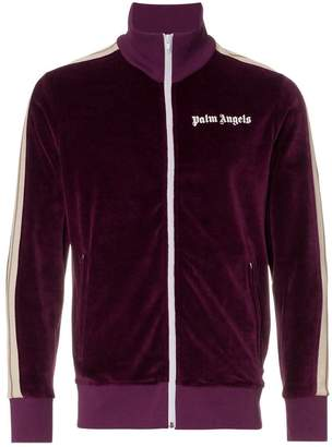 Palm Angels logo print cotton blend chenille track jacket