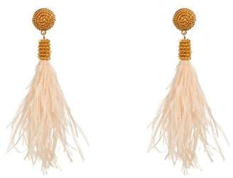 Suzanna Dai Bead Detail Feather Drop Earrings