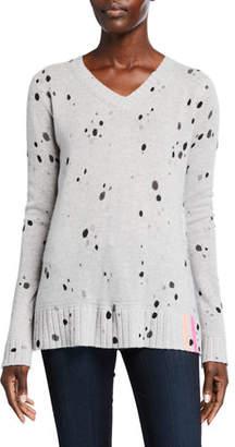 LISA TODD Spin Art V-Neck Cashmere Speckle Sweater