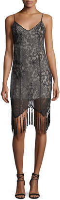 Haute Hippie Embellished Lace Sleeveless Flapper Cocktail Dress