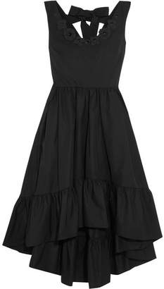 Fendi - Appliquéd Cotton-taffeta Midi Dress - Black $1,995 thestylecure.com