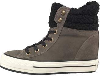 Converse Womens CT All Star Hi Platform Fur Padded Collar Trainers Charcoal/White