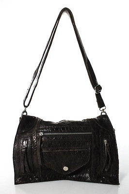 Designer Great by Sandie Paris Dark Brown Textured Leather Small Crossbody Handbag