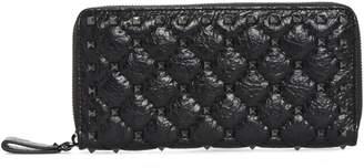 Valentino Rockstud Spike Matelasse Leather Continental Wallet