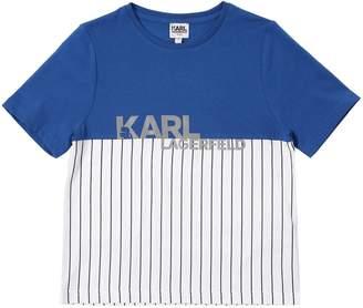 Karl Lagerfeld Reflective Print Cotton Jersey T-Shirt