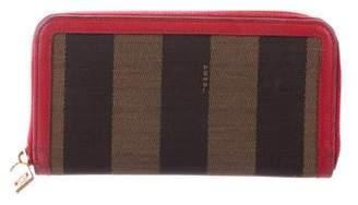 Fendi Leather-Trimmed Pequin Wallet