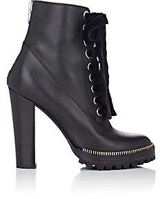 Sergio Rossi Women's Zipper-Trimmed Leather Ankle Boots-Black