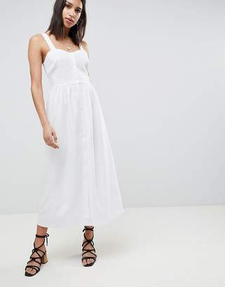 Asos Design DESIGN Linen Button Through Maxi Dress
