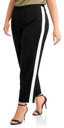 Lifestyle Attitudes Women's Plus Stretch Crepe Fashion Career Pant with Side Stripe Panel
