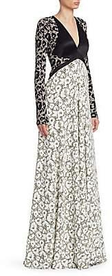 Roberto Cavalli Women's Leopard Print Panelled Gown