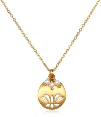 Satya Jewelry June Pearl Lotus Adjustable Birthstone Pendant Necklace, 18""