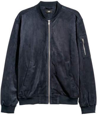 H&M Faux Suede Bomber Jacket - Blue