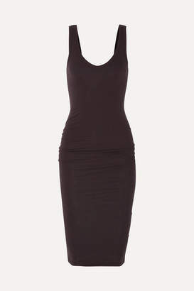 James Perse Ruched Stretch-cotton Jersey Midi Dress - Burgundy