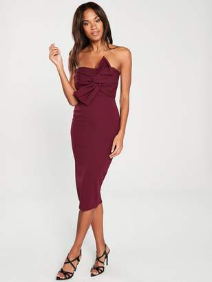 Girls On Film Bow Front Detail Midi Bodycon Dress - Burgundy