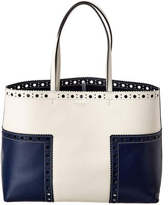 Tory Burch Perforated Logo Leather Tote