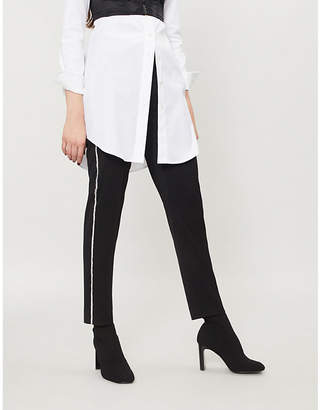 The Kooples Crystal-embellished trim stretch-wool trousers