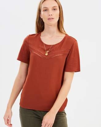 Maison Scotch Woven Jersey T-Shirt