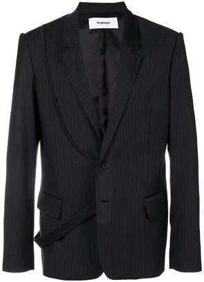 Chalayan strap pinstripe suit jacket