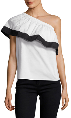 Colorblocked Asymmetrical Ruffle Blouse $98 thestylecure.com