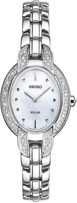 Seiko Women's Solar Tressia Diamond Accent Stainless Steel Bracelet Watch 21mm SUP323 $475 thestylecure.com