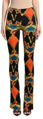 Versace Multicolor Greek-Key-Print Flared Leggings