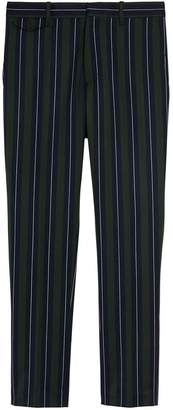 Burberry Striped Wool Cotton Tailored Trousers