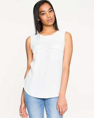 Le Château Crepe Back Satin Scoop Neck Blouse