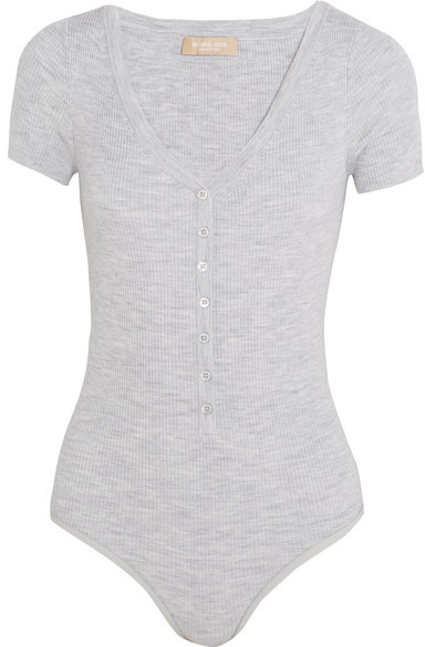 Michael Kors Collection - Ribbed Stretch Merino Wool-blend Bodysuit - Gray