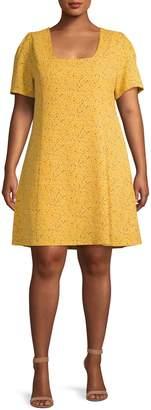 Gabrielle Plus Sprinkle-Print Fit Flare Dress