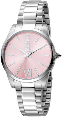 Just Cavalli 32mm Relaxed Crystal Bracelet Watch, Pink