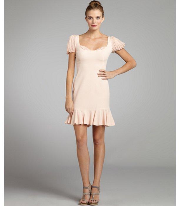 Alexander McQueen light pink silk crepe puff sleeve flared hem dress